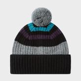 Paul Smith Men's Black Striped Lambswool Bobble Hat