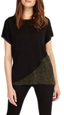 Phase Eight Elizabetta Knitted Metallic Detail Top, Black/Bronze