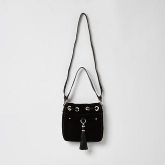 River Island Black leather tassel mini duffle bag
