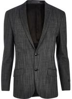 River Island MensGrey slub slim suit jacket