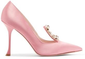 Roger Vivier Broche Crystal-embellished Satin Pumps - Pink