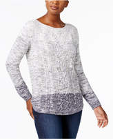 Karen Scott Ombré Cable-Knit Cotton Sweater, Created for Macy's
