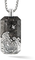David Yurman Waves Forged Carbon & Sterling Silver Tag Pendant