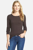 Caslon Long Sleeve Crewneck Cotton Tee (Petite)