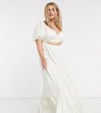 Skylar Rose Plus belted maxi dress with tiered skirt and puff sleeves