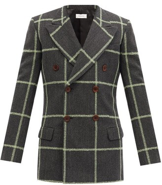 Wales Bonner Soul Double-breasted Checked Wool Blazer - Grey