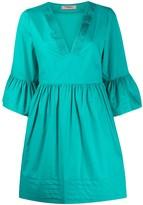 Twin-Set Pleated Trim Mini Dress