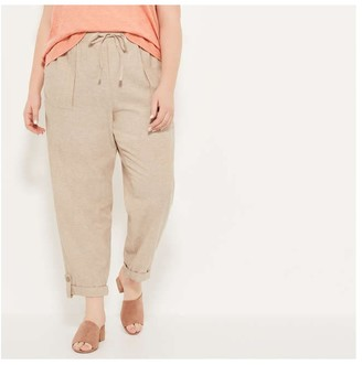 Joe Fresh Women+ Roll Cuff Linen Pants, Light Khaki Brown (Size 3X)