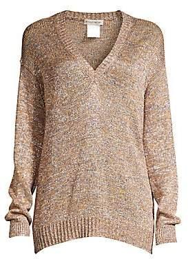 Women`s Metallic V-Neck Sweater
