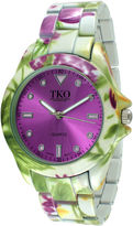 JCPenney TKO ORLOGI Womens Green Floral Print Bracelet Watch