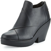 Eileen Fisher Cosmo Crisscross Leather Wedge Bootie, Black
