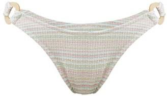 Reina Olga Rings Seersucker-effect Bikini Briefs - White Multi