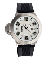Breed Silvertone & White Alpha-Two Swiss Watch