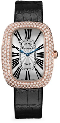 Franck Muller Galet Rose Gold, Diamond & Alligator Strap Watch