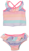 Osh Kosh Orange & Aqua Stripe Ruffle Tankini - Infant