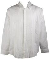 Cubavera Mens Long Sleeve Linen-Blend Pleated-Front Button-Down Shirt