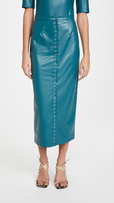 Sally LaPointe Stretch Faux Leather Snap Front Midi Pencil Skirt