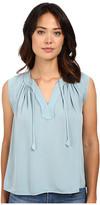 Rebecca Taylor Sleeveless Silk Double Georgette Tie Top