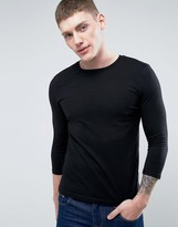 Asos Long Sleeve T-shirt With 3/4 Sleeve And Crew Neck In Black