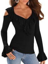 Kalin L Women Long Sleeve Fitted Cold Shoulder Ruffle Blouse Tunic Top (L, Grey)