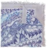 Hemisphere printed fringed scarf