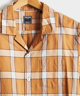 Todd Snyder Vintage Plaid Camp Collar Long Sleeve Shirt in Gold