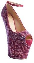 Giuseppe Zanotti hot pink crystal covered leather high platform heels