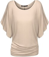 TWINTH Thanth Womens Short Kimono Sleeve Boat Neck Dolman Top Beige XXL