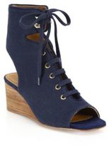 Chloé Lace-Up Canvas Wedge Sandals