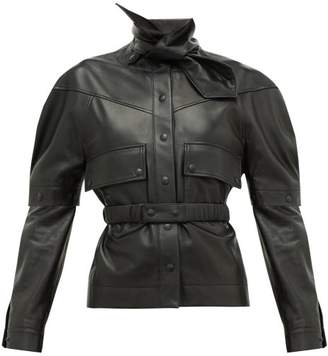 Symonds Pearmain - Neck-tie Detachable-sleeve Leather Jacket - Womens - Black