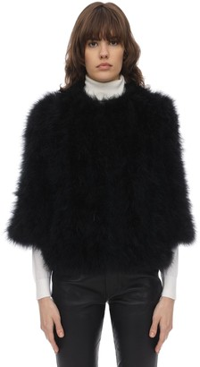 Yves Salomon Feather Jacket W/Cropped Sleeves