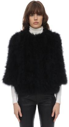 Yves Salomon Feather Jacket W/cropped Sleeves