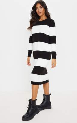 PrettyLittleThing Monochrome Soft Knit Stripe Midi Dress