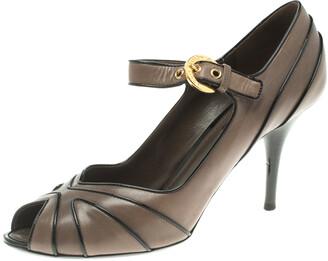 Louis Vuitton Grey Leather Mary Jane Peep Toe Pumps Size 38