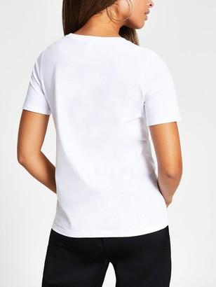 River Island Foil Wordy T-shirt - White