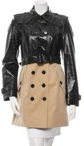 Burberry Patent Leather-Accented Trench Coat