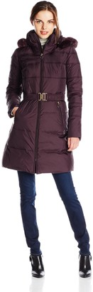 T Tahari Women's Mali Down Coat Faux Fur Hood