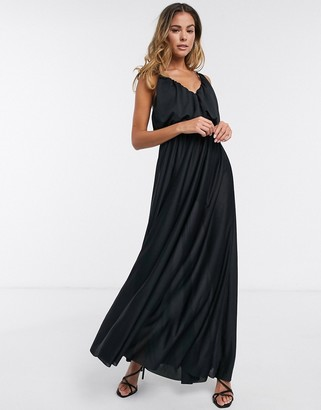 ASOS DESIGN cami plunge maxi dress with blouson top in black