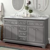 "Three Posts Bergin 60"" Double Bathroom Vanity Set Base Finish: Grey"