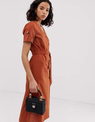Only button detail safari linen midi dress-Brown