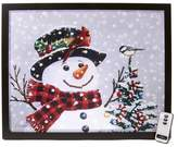 Winter Lane Fiber-Optic Lit Canvas Art with Remote - Snowman with Birds