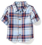 Old Navy Plaid Roll-Sleeve Shirt for Baby
