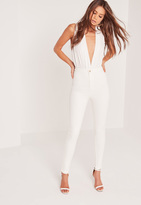 Missguided High Waisted Skinny Jeans White