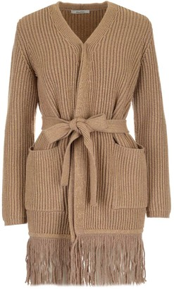 Max Mara Belted Fringe-Detailed Cardigan