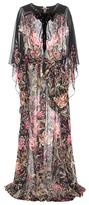 Roberto Cavalli Embellished Printed Silk Dress