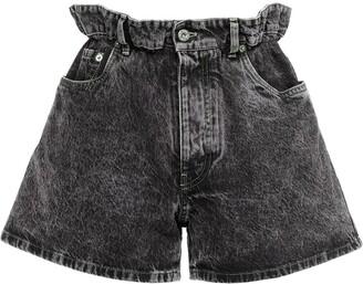 Miu Miu Paperbag Waist Denim Shorts