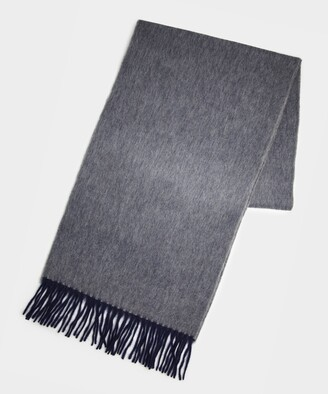 Drakes Semi Reversible Scarf in light grey
