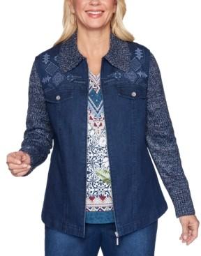 Alfred Dunner Petite Autumn Harvest Knit-Sleeve Denim Jacket