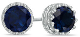 Zales 6.0mm Lab-Created Blue Sapphire Crown Earrings in Sterling Silver