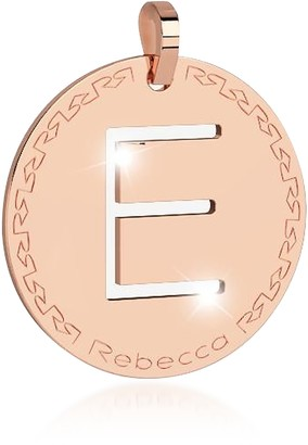 Rebecca Rose Gold-plated Bronze E Charm W/Rhodium-plated Necklace